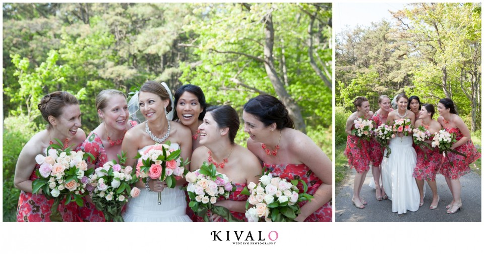 Coral Pattered Bridesmaid Dresses