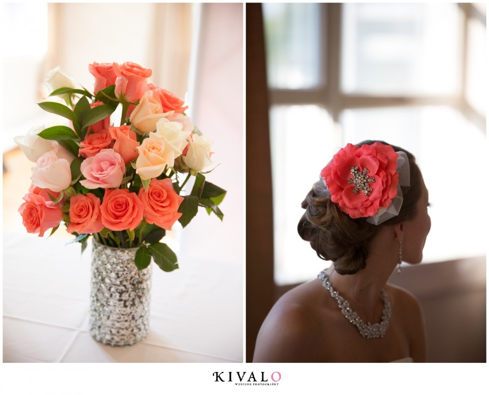 coral colored wedding hair piece