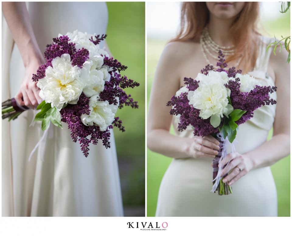 lilac and peony bridal bouquet
