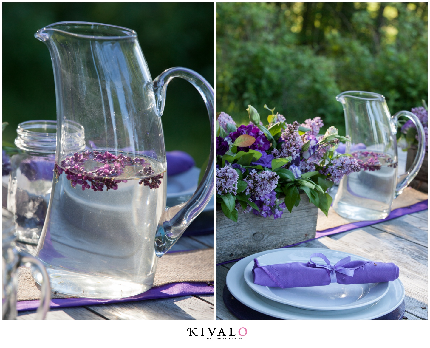 pitcher of water on rustic wedding table