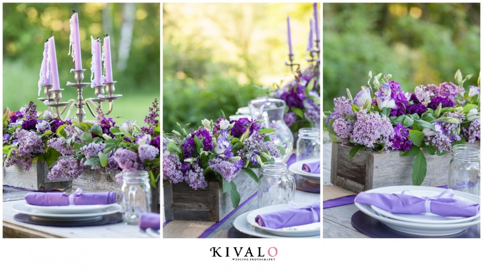 lilac rustic wedding centerpieces