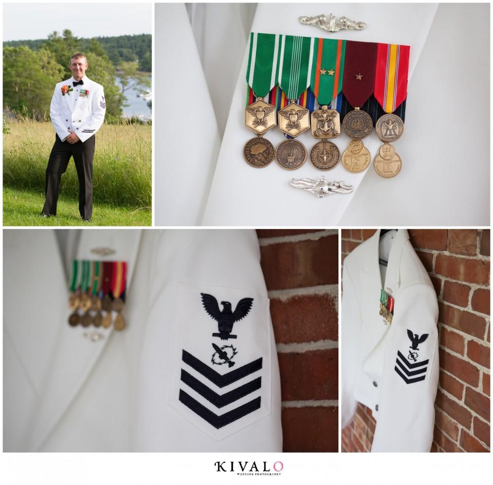 groom wearing navy uniform