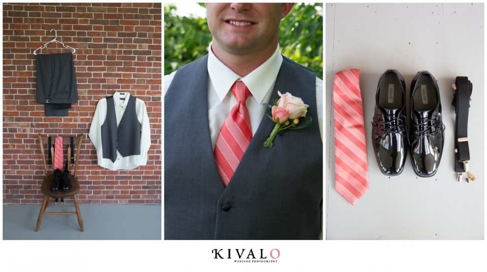 grey suits with coral ties groomsmen