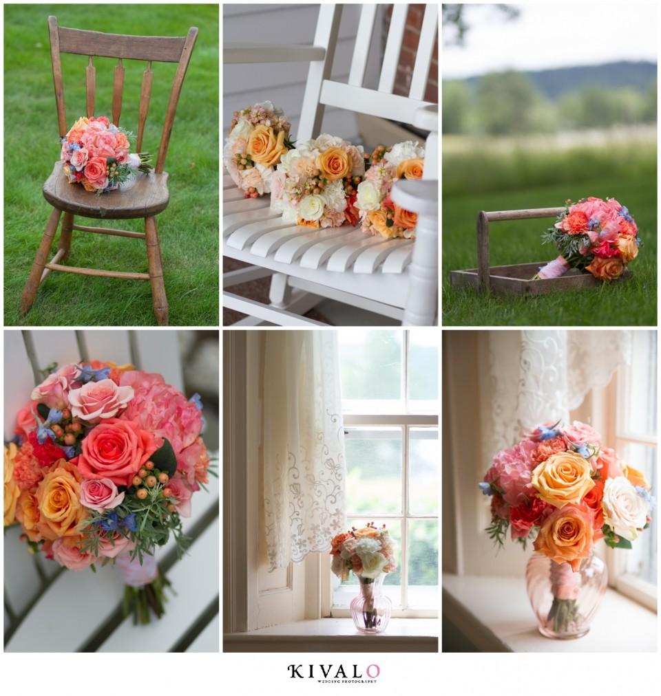 coral colored bridal bouquet