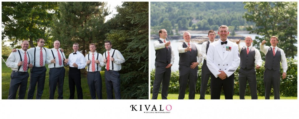 grey suits with suspenders groomsmen