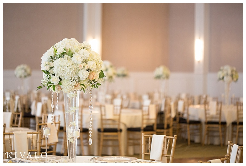 tall floral arrangements ballroom wedding
