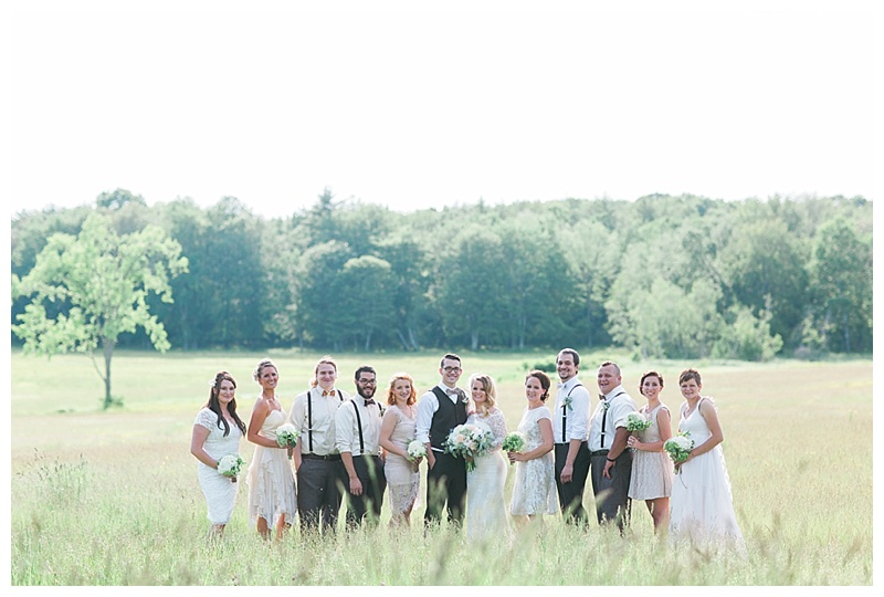bow ties and cream bridesmaid dresses