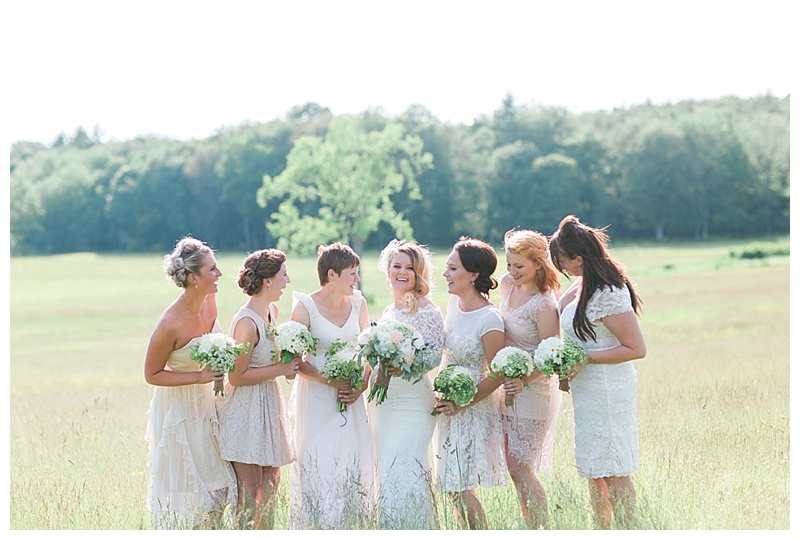 cream and lace bridesmaids