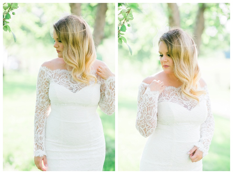 laced sleeved wedding gown