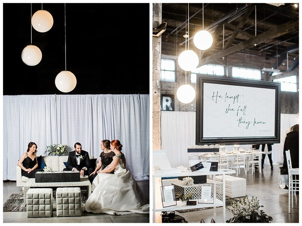Modern custom ball lights for this black tie industrial wedding