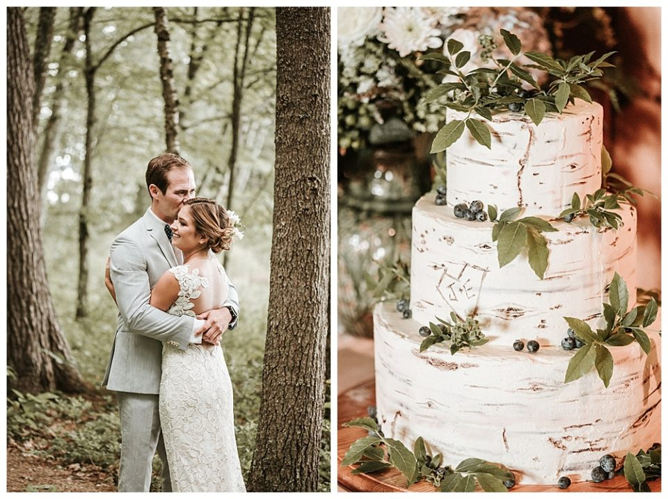 birch cake and woodsy wedding picture