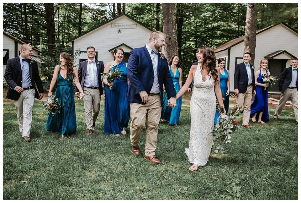 bridal party photo at camp wedding